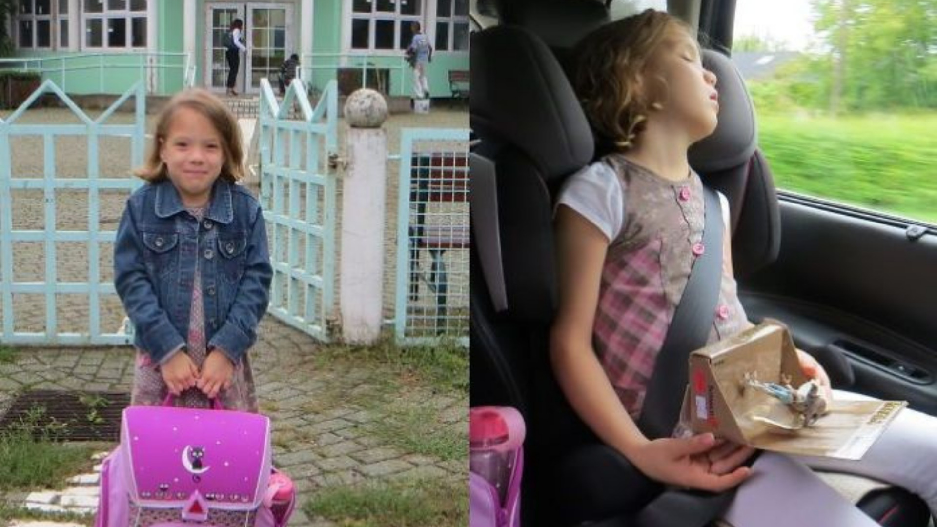 Interesting before and after photos of children on their first day at school